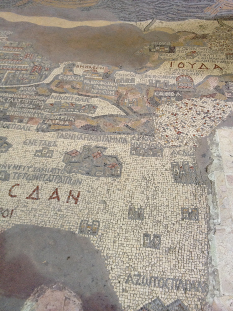 Madaba, Jordan Mosaic map of Jerusalem and Holy Land. Sixth century A.D. Madaba, Jordan.