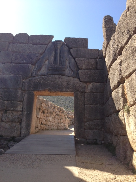 Perfect planning-alone at the Lion's Gate, Mycenae, Greece